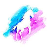Mytologi illustration uppsättning enhörning siluett, enhörning med akvarell