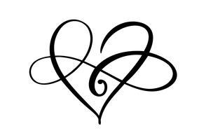Hjärta kärlekstecken för evigt logotyp. Infinity Romantisk symbol kopplad, gå med, passion och bröllop. Mall för t-shirt, kort, affisch. Design platt element av valentinsdagen. Vektor illustration