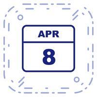 8 april Datum på en enkel dagskalender vektor