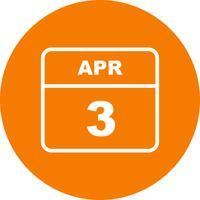 3 april Datum på en enkel dagskalender