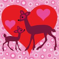 hjort valentin vektor med hjärta