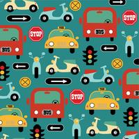 Auto Motorrad Taxi und Bus Muster mit Verkehrszeichen vektor