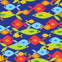 överlappande ljust fiskmönster på blå bakgrund