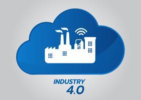 Industrielles Konzept 4.0, intelligente Fabrik-Vektor-Ikone. Wi-Fi-Anlagenabbildung. Internet der Dinge (IoT) Industrietechnik.