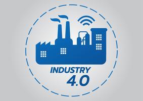 Industrielles Konzept 4.0, intelligente Fabrik-Vektor-Ikone. Wi-Fi-Anlagenabbildung. Internet der Dinge (IoT) Industrietechnik. vektor