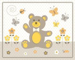 niedlicher Babybär mit gelbem grafischem Platz der Blumen und der Schmetterlinge mit Tupfenhintergrund