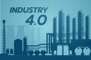 industri 4.0 koncept, smart fabrikslösning, tillverkningsteknik, stadsbild grafisk mall. Industri stadsbyggnader. Vektor illustration