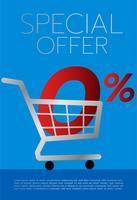 Einkaufswagen voll des großen roten Nullzeichens und des Prozentsatzes