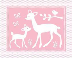 söt bebis hjort scen med fåglar och fjärilar på rosa polka dot bakgrund vektor