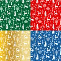 vita rådjur och snöflingor mönster vektor