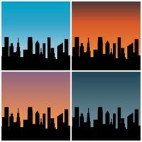 stadshorisont med gradient solnedgång bakgrunder vektor