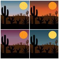 Wüstenkaktusschattenbild mit Steigungssonnenunterganghintergründen vektor