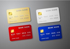 Realistische ausführliche Kreditkarten stellten mit buntem abstraktem Design ein