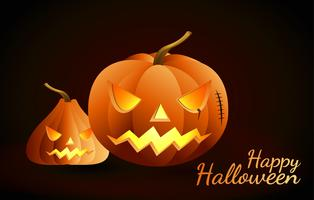 Halloween-Kürbise und dunkles Schloss auf Hintergrund, glückliche Halloween-Mitteilungsdesignillustration. vektor