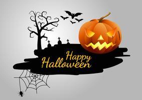 Halloween pumpor och mörkt slott på bakgrunden, Happy Halloween meddelande design illustration.