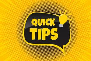 Quick Tips-märke, bannervektor med glödlampa och talbubbla vektor