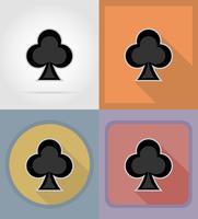 Klubbkort kostym casino platt ikoner vektor illustration