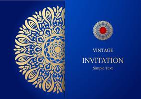 Elegant spara datumkortdesign. Tappning blommig inbjudan kort mall. Lyx virvla runt mandala hälsning guld och blått kort