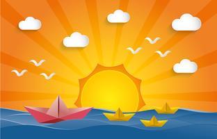 Führungskonzept. Papierbootssegeln auf Wasser mit Sonnenuntergangzeit.