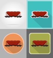 Ikonen-Vektorillustration der Eisenbahnwagenserie flache