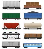 gesetzte Ikonen Eisenbahnwagenzug-Vektorillustration