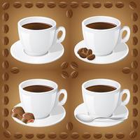 uppsättning ikoner med koppar med kaffe vektor