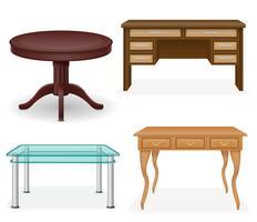 Stellen Sie Ikonenmöbel-Tabellen-Vektorillustration ein