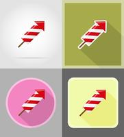 fyrverkerier för firande platt ikoner vektor illustration