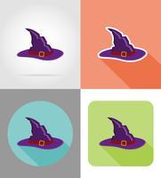 halloween häxa hatt platta ikoner vektor illustration