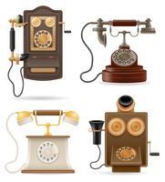 telefon gamla retro set ikoner lager vektor illustration