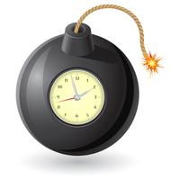 schwarze Bombe mit einer brennenden Sicherung und Uhrwerk-Vektorillustration