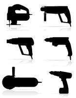 Ikonen-Vektorillustration des schwarzen Schattenbildes der Elektrowerkzeuge gesetzte