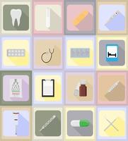 medicinska föremål och utrustning platt ikoner illustration