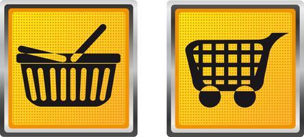 Ikonen Einkaufswagen und Laufkatze für Designvektorillustration