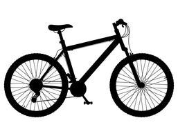 Mountainbike mit Gangschaltung der schwarzen Schattenbildvektorillustration