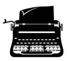 skrivmaskin gammal retro vintage ikon lager vektor illustration