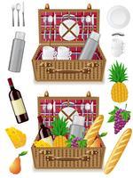 Korb für ein Picknick mit Geschirr und Lebensmitteln
