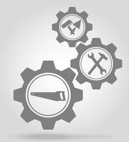Werkzeuge für die Reparatur oder den Bau von Getriebekonzept-Vektor-Illustration