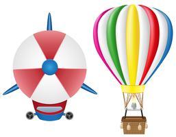 Luftschiff Zeppelin und Heißluftballon-Vektor-Illustration