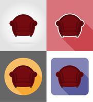 fåtölj möbler ställa plana ikoner vektor illustration