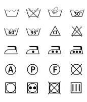 Ange ikoner guide för tvättning vektor illustration