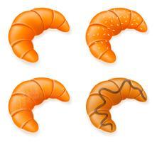 ställa in ikoner av färska krispiga croissanter vektor illustration