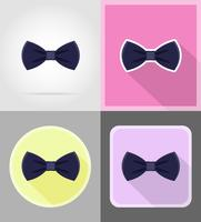 blå slips för män en kostym platta ikoner vektor illustration