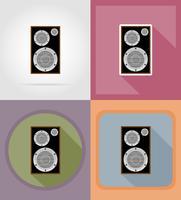 Flache Ikonen der akustischen Loundspeaker-Vektorillustration