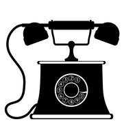 Vektor-Schwarzes Entwurfsschattenbild der Weinleseikone des Vektors des Telefons alte