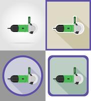 elektriska kvarn verktyg för konstruktion och reparation platt ikoner vektor illustration