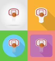 basket korg och boll platta ikoner vektor illustration