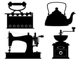 Ikonen der alten Retro- Weinlese der Haushaltsgeräte gesetzte Ikonen auf Lager