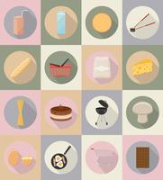 flache Ikonen des Lebensmittels und der Gegenstände vector Illustration
