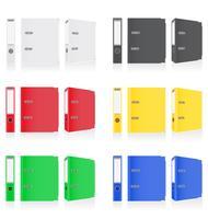Ordner färbt Mappenmetallringe für Bürovektorillustration